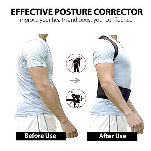 Back Straightener Posture Corrector for Women and Men, Upper Back Brace for Clavicle SupportShoulder Neck Pain Relief, Under Clothes, Large (46\