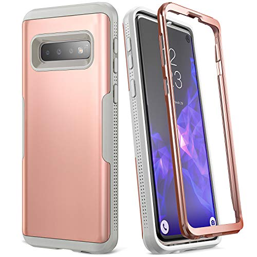 YOUMAKER Case for Galaxy S10, Rose Gold Heavy Duty Protection Full Body Shockproof Slim Fit Without Built-in Screen Protector Case Cover for Samsung Galaxy S10 6.1 inch (2019) - Rose Gold/Gray