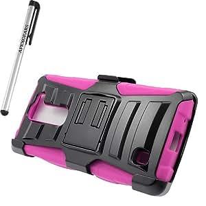 for LG Volt 2 LS751 Robotic Belt clip Holster Stand Cover Case Stylus Pen ApexGears (TM) Black Pink