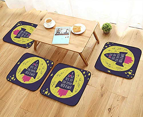 Printsonne Simple Modern Chair Cushions RockGoes to The Space Love You to The Mo and Back Quote Stars Solar Cute Design Reusable Water wash W27.5 x L27.5/4PCS Set by Printsonne