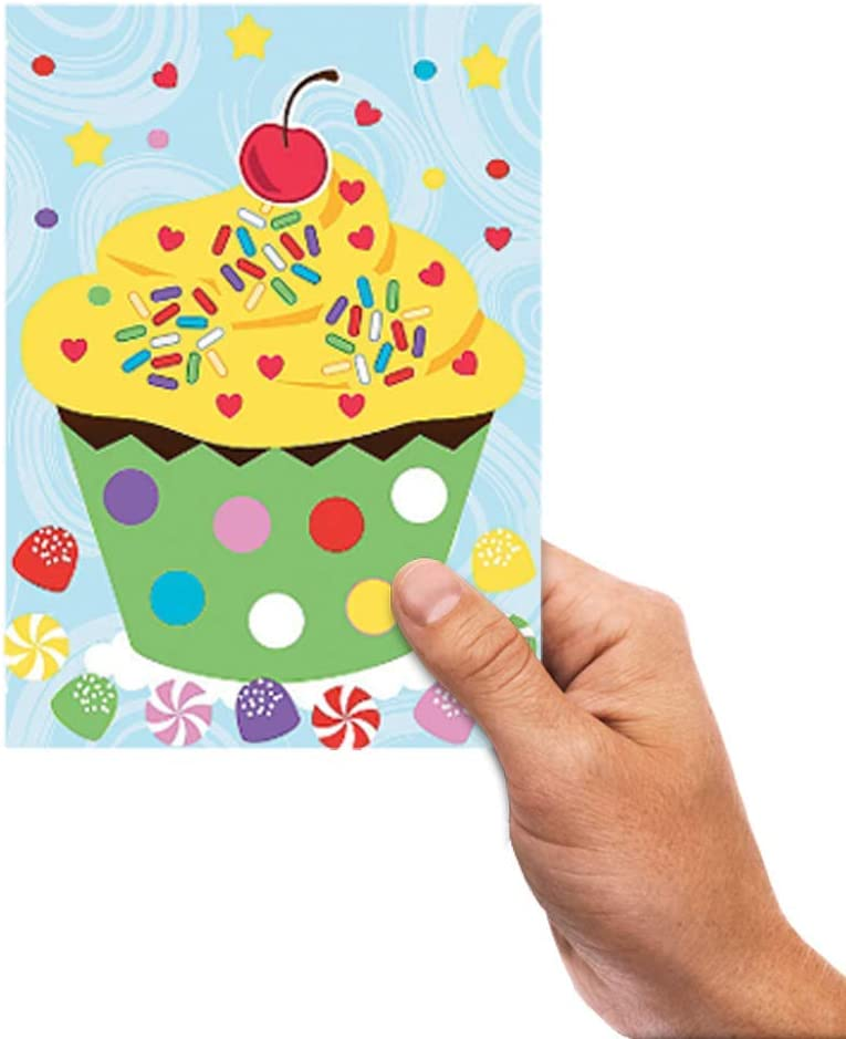 Arts and Crafts Set of 24 Cute Stickers Scene for Birthday Treat Kicko Make a Cupcake Sticker Group Projects School Activity Goody Bags Room Decor