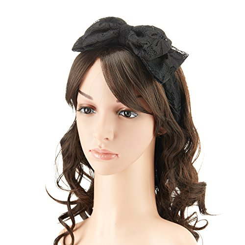 1980s Lace Hair Scarf Headband with Satin for Culture Women's 80s Themed Costume Accessory,Black (The 80s Outfits)