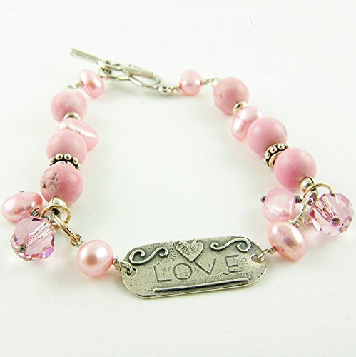 Pink Bracelet Sterling Silver Love Tag Freshwater Cultured Pearl Swarovski Crystal Bali Bead Stone ()