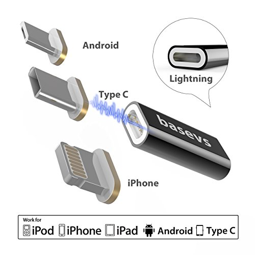 Basevs 3 in 1 Magnetic Charger Adapter, Compatible for iPhone, Android Micro USB, USB-C Magnetic Chargers to Replacement for iPhone X/8/8 Plus/7/7 Plus Samsung Note 8, Moto Z2 and More