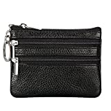 Women's Genuine Leather Coin Purse Mini Pouch Change Wallet with Key Ring,black