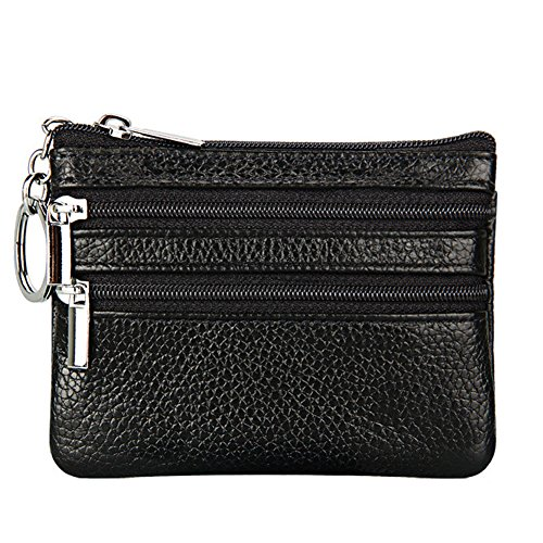 Women's Genuine Leather Coin Purse Mini Pouch Change Wallet with Key (Black Ladies Purse Accessories)