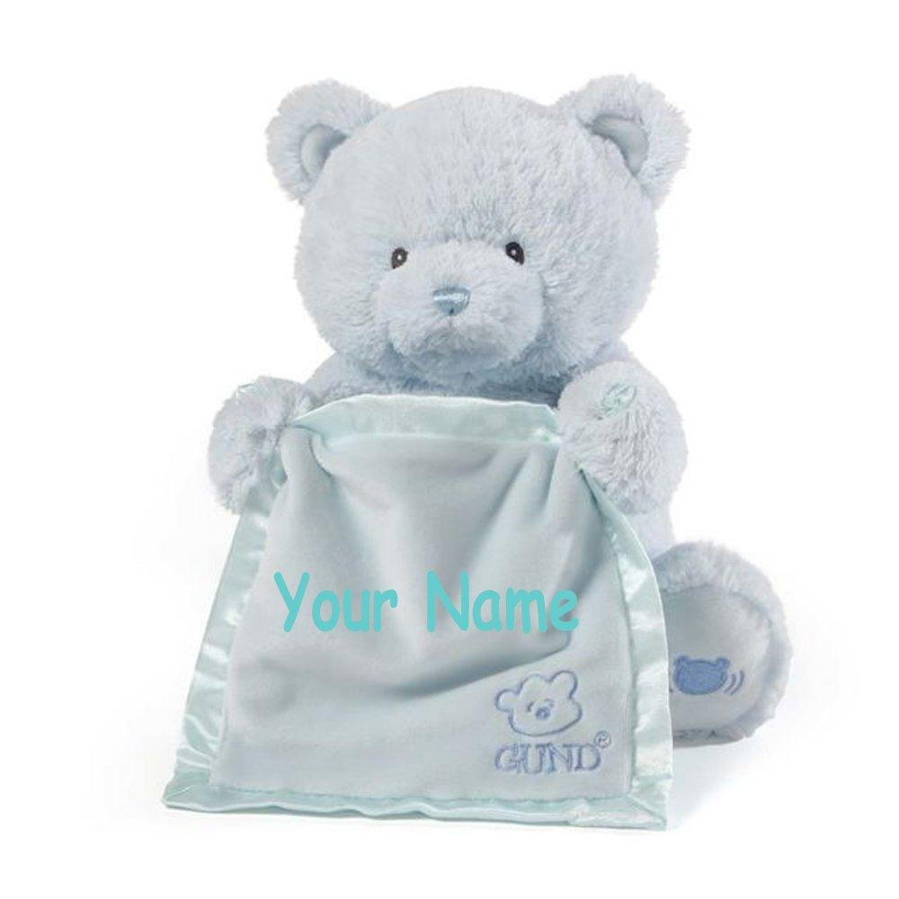 Personalized GUND Animated Blue Peek-A-Boo Teddy Bear Plush Stuffed Toy Animal by GUND