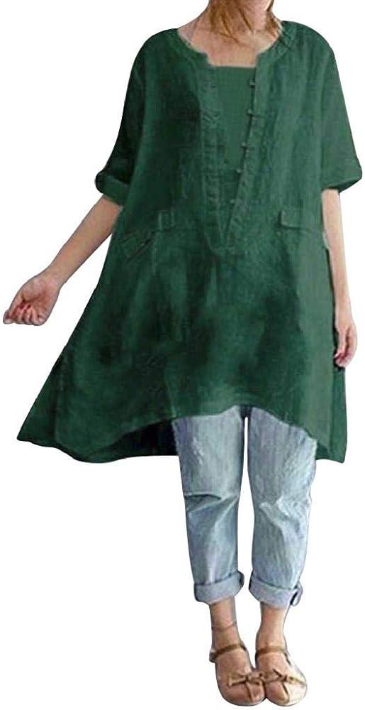 Camisa Algodón Y Lino Mujer Casual 2019 Nuevo SHOBDW Tops Blusa Suelto Color Sólido Cuello Redondo Camisetas Mujer Manga Corta Tallas Grandes L-4XL(Verde, L): Amazon.es: Ropa y accesorios