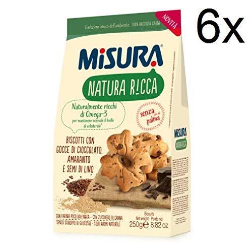 6X Misura Natura Ricca Biscotti Biscuits Chocolate Drops Amaranth, Leinsa 300g