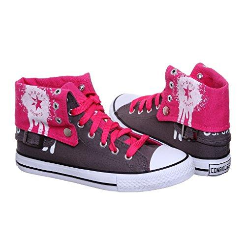 Nouveau Style!! Haut Haut Rabattre La Toile Femmes Sneakers Best Seller Gris / Fuchsiatmp
