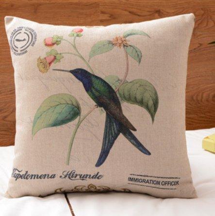 Almohada de algodón, impreso con pájaros y flores en el ...
