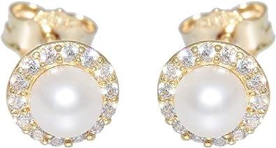 Hobra Gold Perlen Ohrstecker Gold 585 Zirkonias Ohrringe kleine runde Perlenstecker Damen
