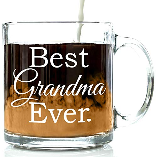 Best Grandma Ever Glass Coffee Mug 13 oz - Top Christmas Gifts For Grandma - Unique Gift For Her - Novelty Mothers and Birthday Present Idea For Grandmother from Grandson or Granddaughter