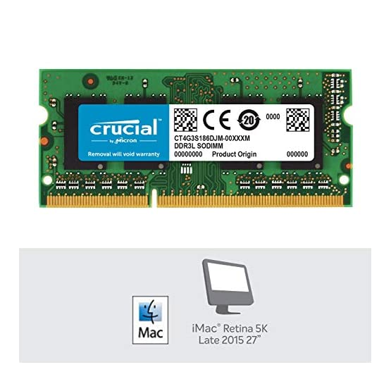 Crucial 4GB Single DDR3/DDR3L 1866 MT/s (PC3-14900) 204-Pin SODIMM RAM Upgrade for iMac (Retina 5K, 27-inch, Late 2015… 51Gpuf5siGL. SS555