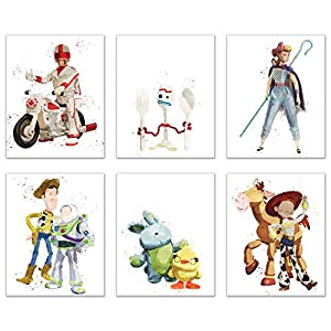 Toy Story 4 (2019) Watercolor Prints Set of 6 (8 inches x 10 inches) Poster Photos – Characters Include Woody – Buzz Lightyear – Forky – Duke Caboom – Bo Peep – Ducky – Bunny – Giggle McDimples
