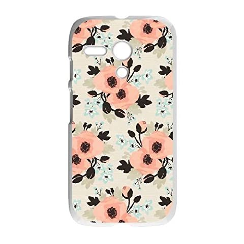 Motorola G Case,Beautiful Floral Series,Pretty Orange Flowers Pattern Durable Hard Plastic Scratch-Proof Protective (Motorola G Glass Covers)
