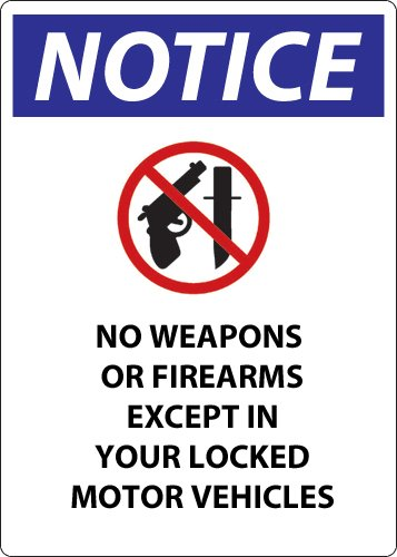 ZING 2809A Concealed Carry Sign, Wisconsin, 14Hx10W, Recycled Aluminum ZING Enterprises