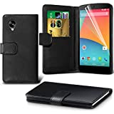 ONX3 ( Black ) LG Google Nexus 5 Book Style PU Leather Wallet Credit / Debit Card Flip Case Skin Cover With Screen Protector Guard