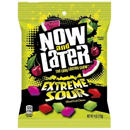 Now & Later Extreme Sour Taffy Fruit Chews Candy - 4 oz. Bag