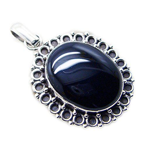 Jewelryonclick Real Black Onyx Sterling Silver Pendant Oval Vintage Style Charms Healing Handmade Locket