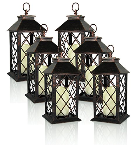 Banberry Designs Decorative Lantern - Antiqued Bronze Candle Lantern with a Flameless LED Pillar Candle and 5 Hour Timer - Set of 6- Outdoor Lighting - 13