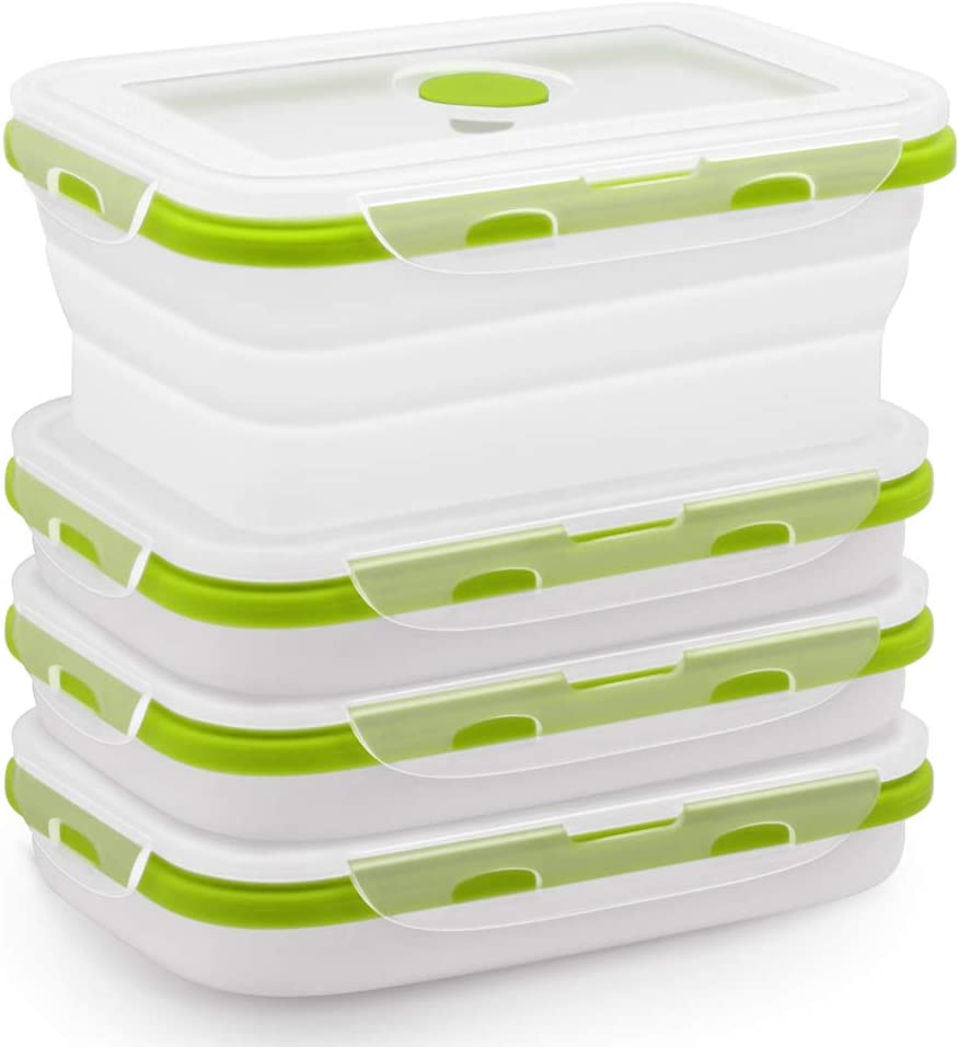 Silicone Food Storage Containers with BPA Free Airtight Plastic Lids - Set of 4 Small and Large Collapsible Meal Prep Container for Kitchen or Kids Lunch Boxes - Microwave and Freezer Safe (Green)