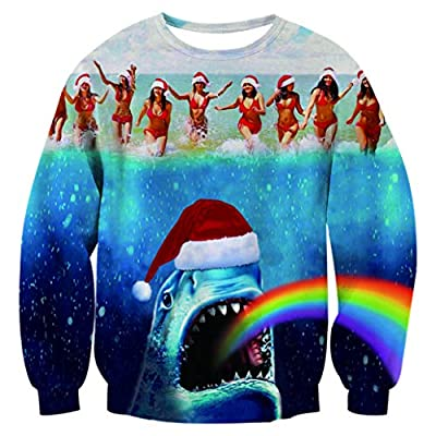 Fanient Unisex Funny 3D Print Ugly Christmas Casual Long Sleeve Pullover Sweatshirt Sweater Jumper Shirts