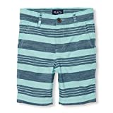 The Children's Place Big Boys' Flat Front Striped Shorts, Mellow Aqua, 5