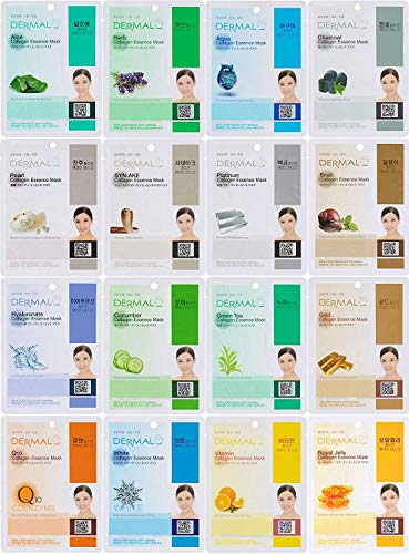 Dermal Korea Collagen Essence Full Face Facial Mask Sheet, 16 Combo Pack (Tony Moly Best Seller)
