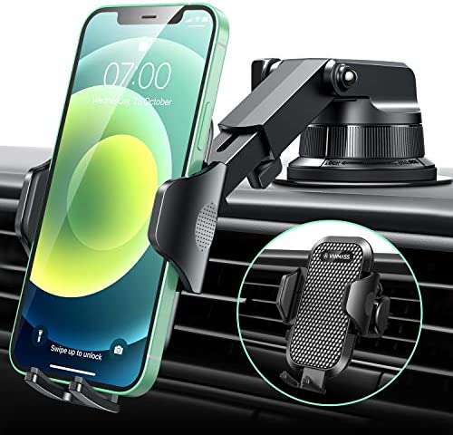 [2020 Upgraded] VANMASS Universal Car Phone Mount for [Trip & Family & Friend] Handsfree Windshield Dash Air Vent Phone Holder Car, Compatible with iPhone 12 11 Xs Max XR X SE Samsung S20 S10 Note 10