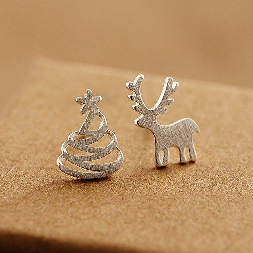 usongs Christmas tree cute deer earrings sterling silver earrings women girls elegant simple fashion earrings Christmas elk