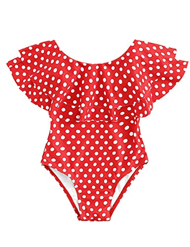 Baby Girl Swimsuit Ruffle White Dot One Pieces Swimwear Red Bathing Suit(12-18 Months)