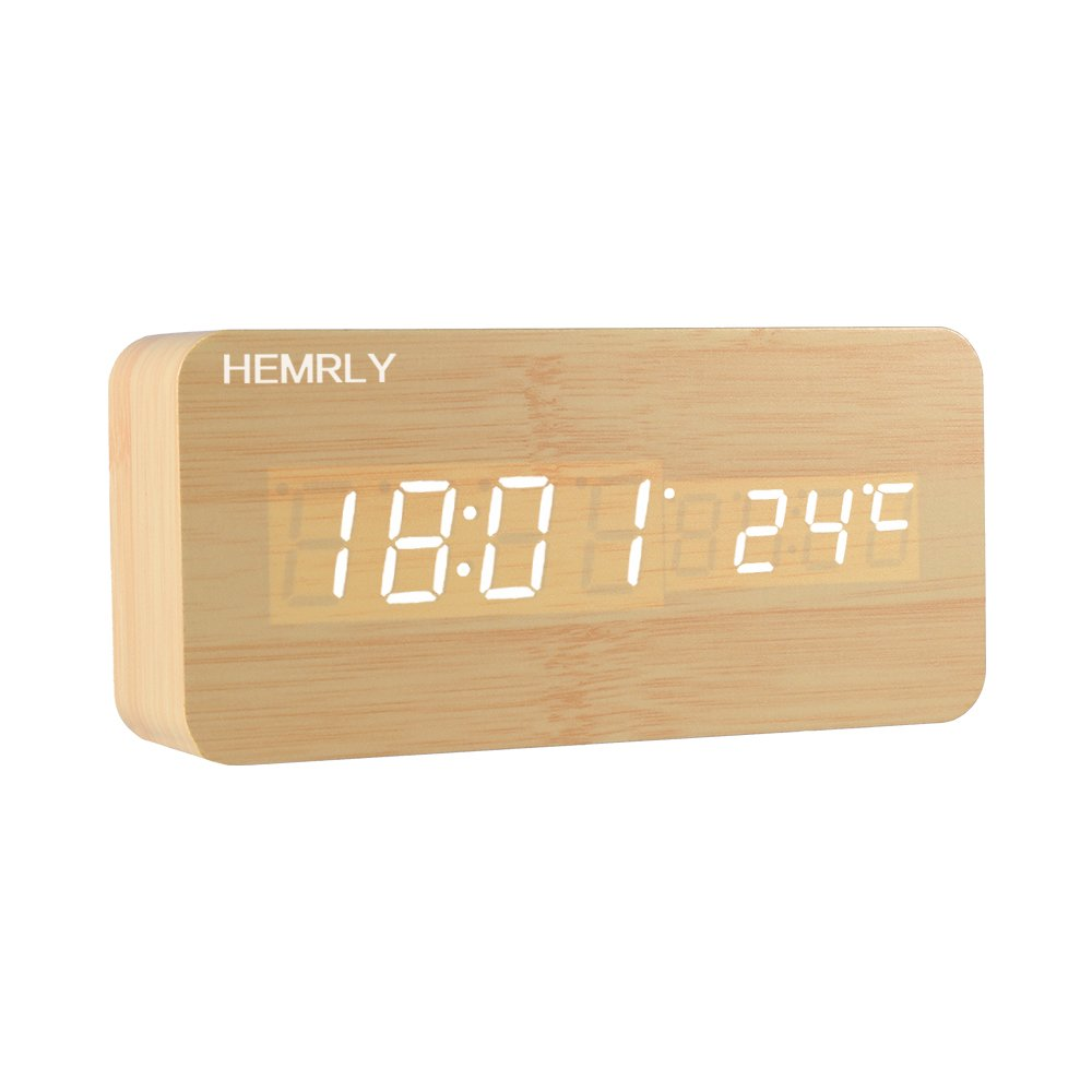 Digital Alarm Clock, HEMRLY Adjustable Brightness Wooden Alarm Clock Voice Control Desk Clock Large Display Time Temperature USB Mains Powered / Battery Backup For Bedside, Home, Office, Kids (Newest Version)