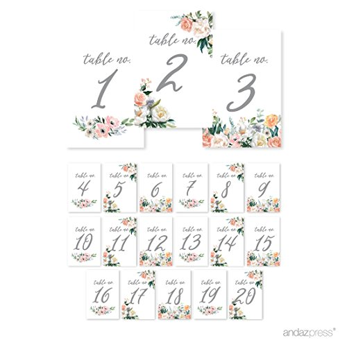 Andaz Press Peach Coral Floral Garden Party Wedding Collection, Table Numbers 1 - 20 on Perforated Paper, Single-Sided, 4 x 6-inch, 1 Set -