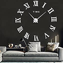 Frameless 3D DIY Silent Wall Clock Mirror Surface Decorative Clock Large Wall Stickers Clock Living Room Bedroom Office Home Decorations (White)