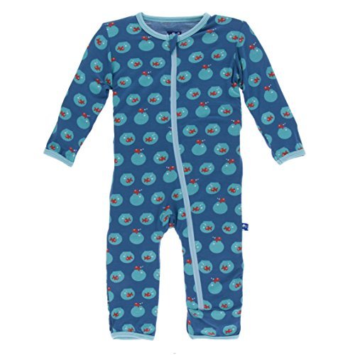 KicKee Pants Bamboo Coverall with Zipper (9-12 Months, Twilight Fishbowl)