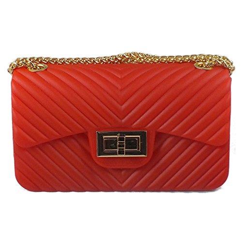 is@bag - Bolso cruzados de Material Sintético para mujer 22x6.5x12.5 cm Dorado Size: 22x6.5x12.5 cm Rojo