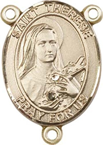 - 14K Gold Filled Saint therese of Lisieux Rosary Centerpiece Medal, 3/4 Inch