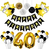 KUUQA 40th Birthday Party Decorations Black and Gold Birthday Decorations with Banner Gold foil Balloons Paper Pom Poms and Birthday Balloons for 40th Party Supplies