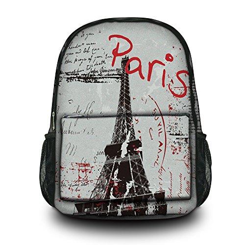 Paris Laptop Carrying Backpack - Fashion Paris Unisex Canvas Rucksack Vintage Computer Laptop Backpack School Backpack Shoulder Bag (Paris) CPB-64