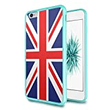 iPhone-6S-Plus Case, iPhone-6-Plus Case, Capsule-Case Hybrid Slim Hard Back Shield Case with Fused TPU Edge Bumper (Teal Green) for iPhone 6S Plus / iPhone 6 Plus - (Union Jack Flag)