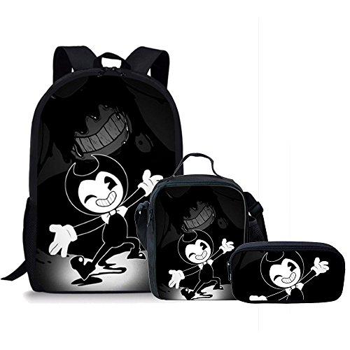 Pack Cup Case (3pcs/set Backpack Children Kids Cartoon Backpack pen box School Bags BookBags for Boys Girl Teenage (Black))