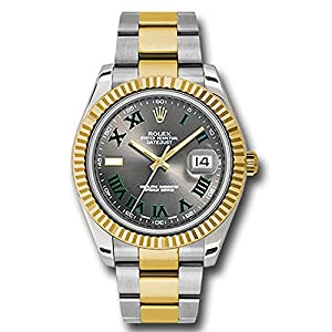 Rolex Datejust II 41 Grey Green Roman Dial Steel 18k Yellow Gold and Diamonds Mens Watch 116333