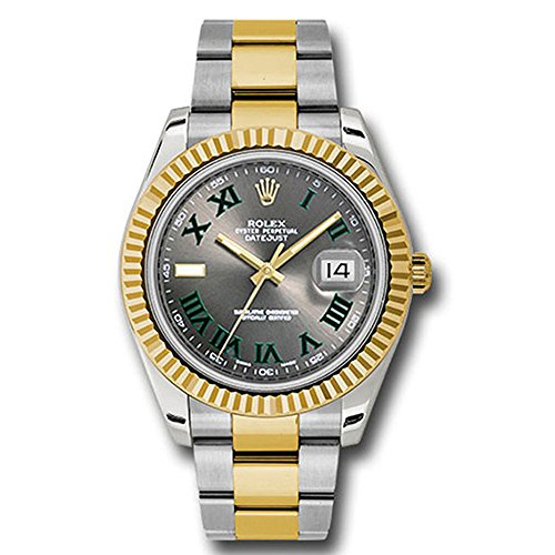 (Rolex Datejust II 41 Grey Green Roman Dial Steel 18k Yellow Gold and Diamonds Mens Watch 116333)