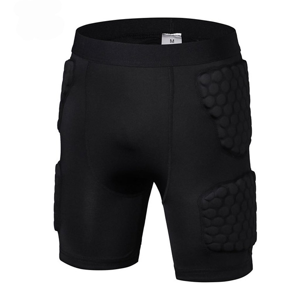 Men's Padded Shorts Compression Protective Underwear Hip Butt Pad Short for Basketball Football Soccer Hockey Bike Cycling Rugby Parkour Paintball Snowboard Ski Volleyball Training Shorts Size M
