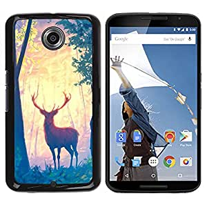 Impact Case Cover with Art Pattern Designs FOR NEXUS 6 / X / Moto X Pro Deer Forest Trees Art Painting Drawing Animal Betty shop