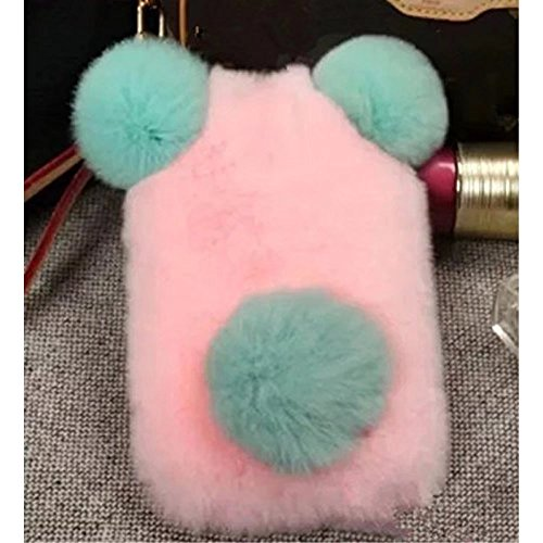 iPod Touch 5 6 Plush Rabbit Case, QKKE Cute Furry Rabbit Bunny Fur Bling Crystal Rhinestone Design Fluffy Cool Soft Case protective Cover Slim for Touch 5 and Touch 6 (Plush Ball N04)