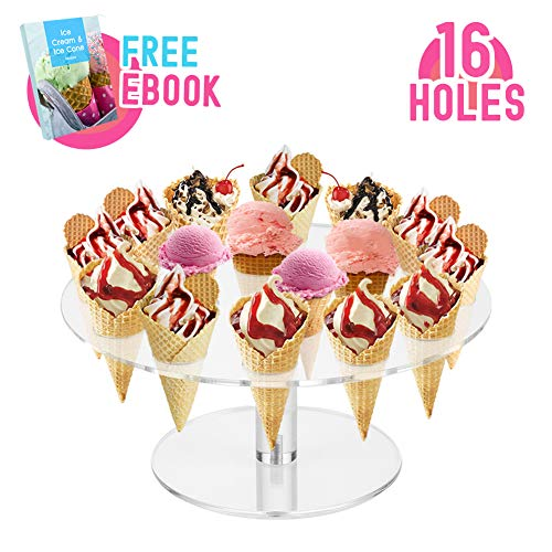 Round Clear Acrylic Mini Ice Cream Cone Holder Stand 16 Holes to Display Sushi Hand Rolls Popcorn Cotton Candy French Fries Sweets Savory, Ice Cream Recipe Ebook - Cone Display