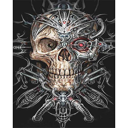5D Diy Diamond Painting Kits, Full Drill Paint With Diamonds Kits 7.9 X 9.8 Inches, Halloween Skull -