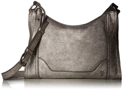- Frye Melissa Zip Leather Crossbody, Silver, One Size